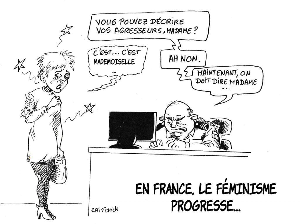 dessin humoristique de Zaïtchick sur les progrès du féminisme et le politiquement correct