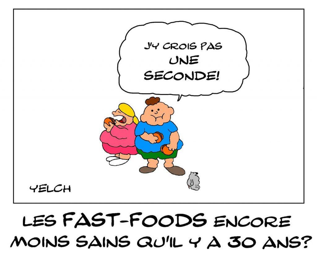 dessin de Yelch sur les fast-foods et l'obésité infantile