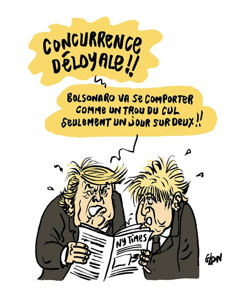 dessin humoristique de Glon sur la proposition de Jair Bolsonaro de faire caca un jour sur deux