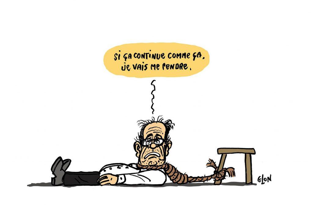 dessin humoristique de Zaïtchick sur les exploits d'Éric Woerth à l'aiguille d'Argentière et les moqueries dont il fait l'objet