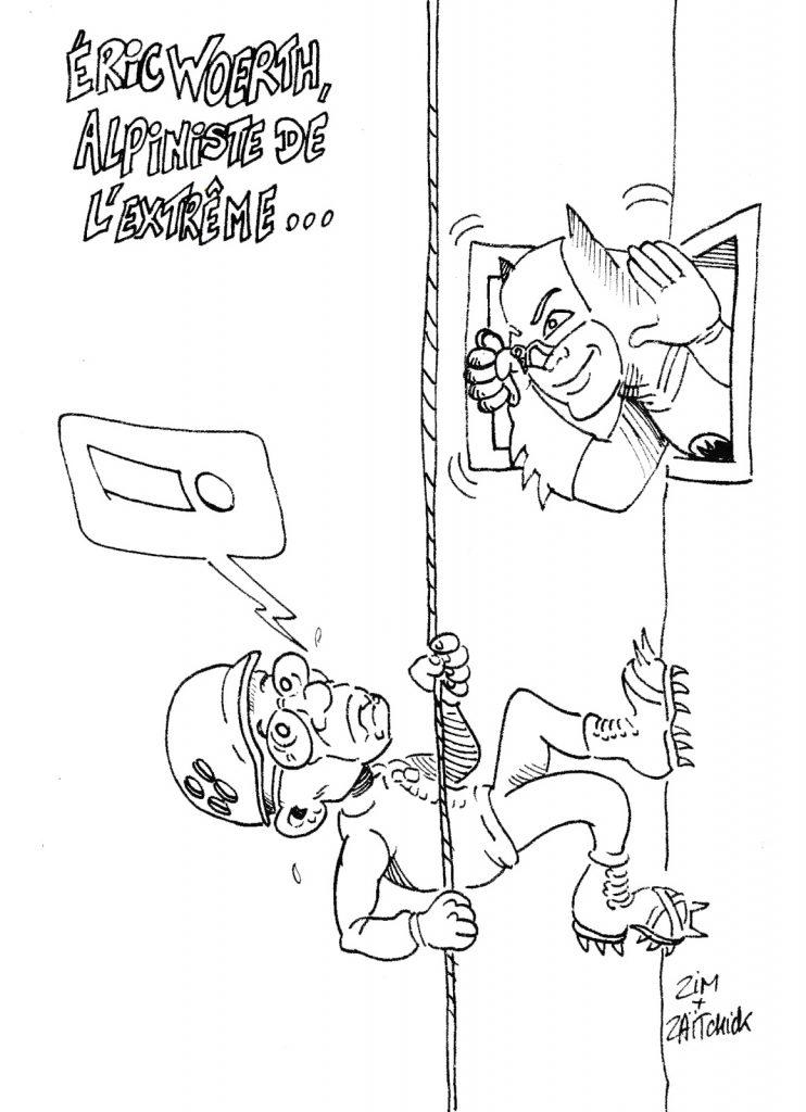 dessin humoristique de Zaïtchick sur les exploits d'Éric Woerth à l'aiguille d'Argentière