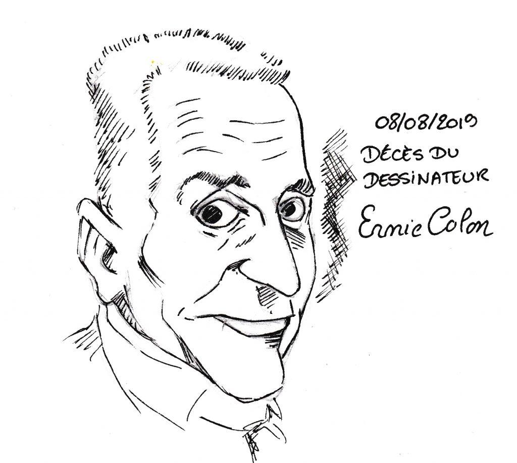 dessin humoristique de Zaïtchick en hommage à Ernie Colon, dessinateur de comics mort le 8 août 2019