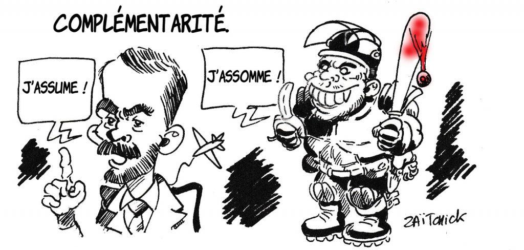 dessin humoristique de Zaïtchick sur les violences policières et La République En Marche
