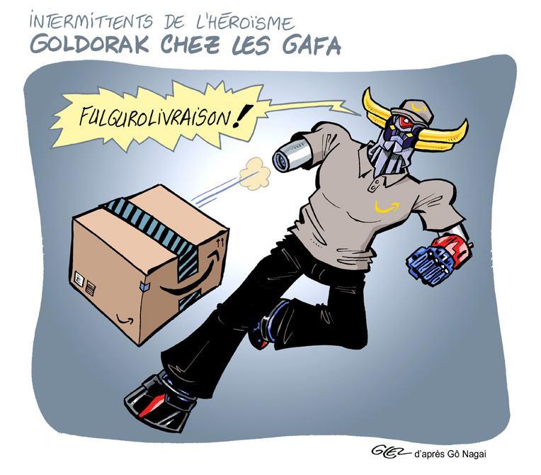 dessin humoristique de Glez sur Goldorak et les livraisons Amazon