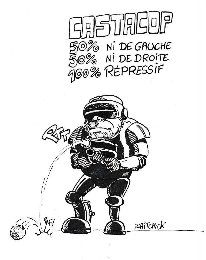 dessin humoristique de Zaïtchick sur Christophe Castaner et les violences policières