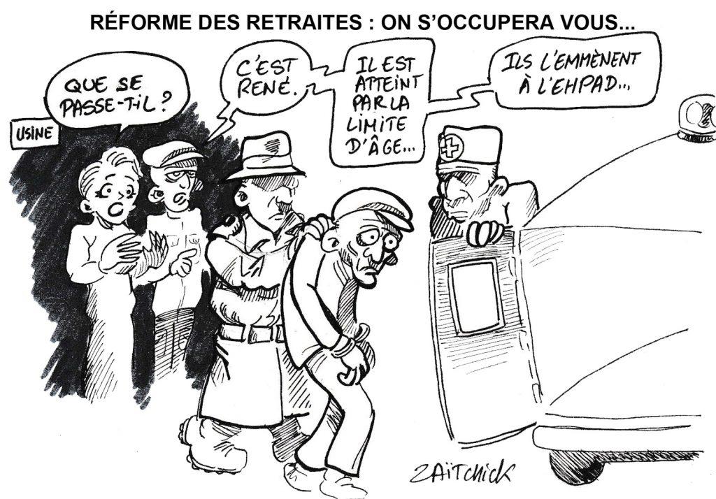 dessin humoristique de Zaïtchick sur la réforme des retraites