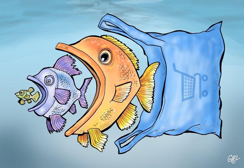 dessin humoristique de Glez sur la pollution plastique dans les océans
