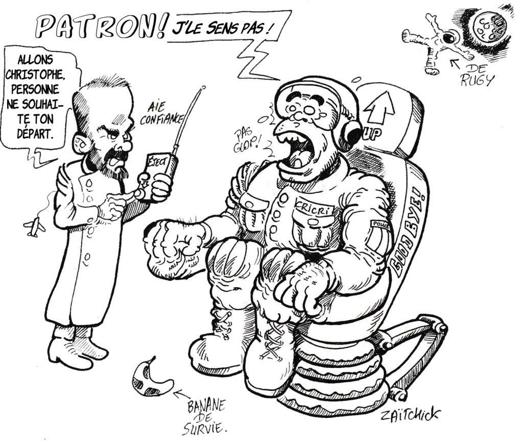 dessin humoristique de Zaïtchick sur le soutien d'Édouard Philippe à Christophe Castaner après l'affaire Steve Caniço