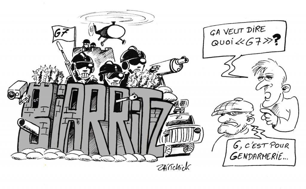 dessin humoristique de Zaïtchick sur le sommet du G7 à Biarritz