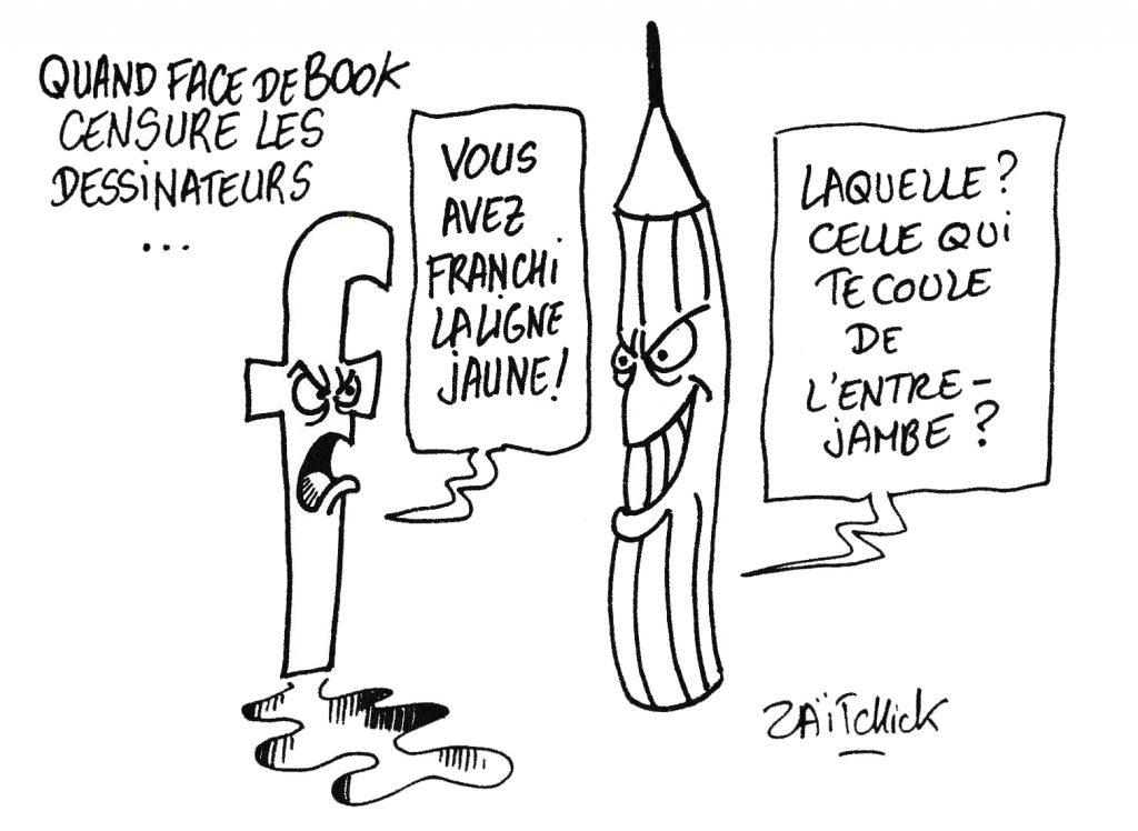 dessin humoristique de Zaïtchick sur la censure par Facebook de dessinateurs de presse