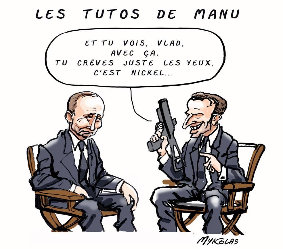 dessin d'actualité humoristique sur la rencontre Emmanuel Macron et Vladimir Poutine