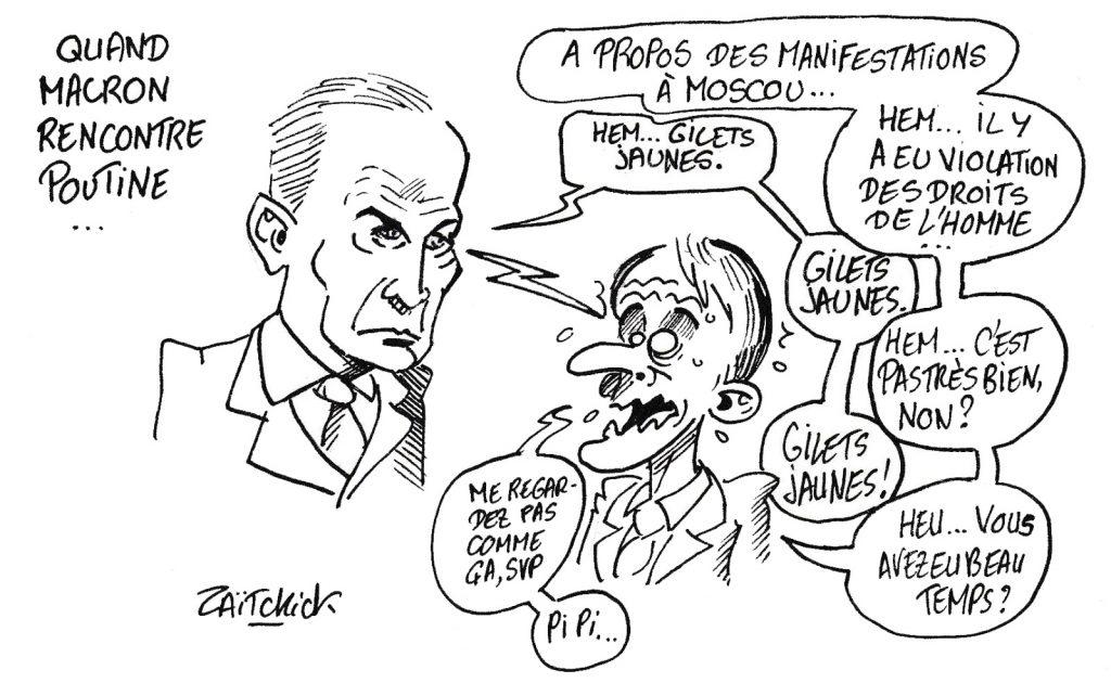 dessin humoristique de Zaïtchick sur la rencontre Emmanuel Macron et Vladimir Poutine