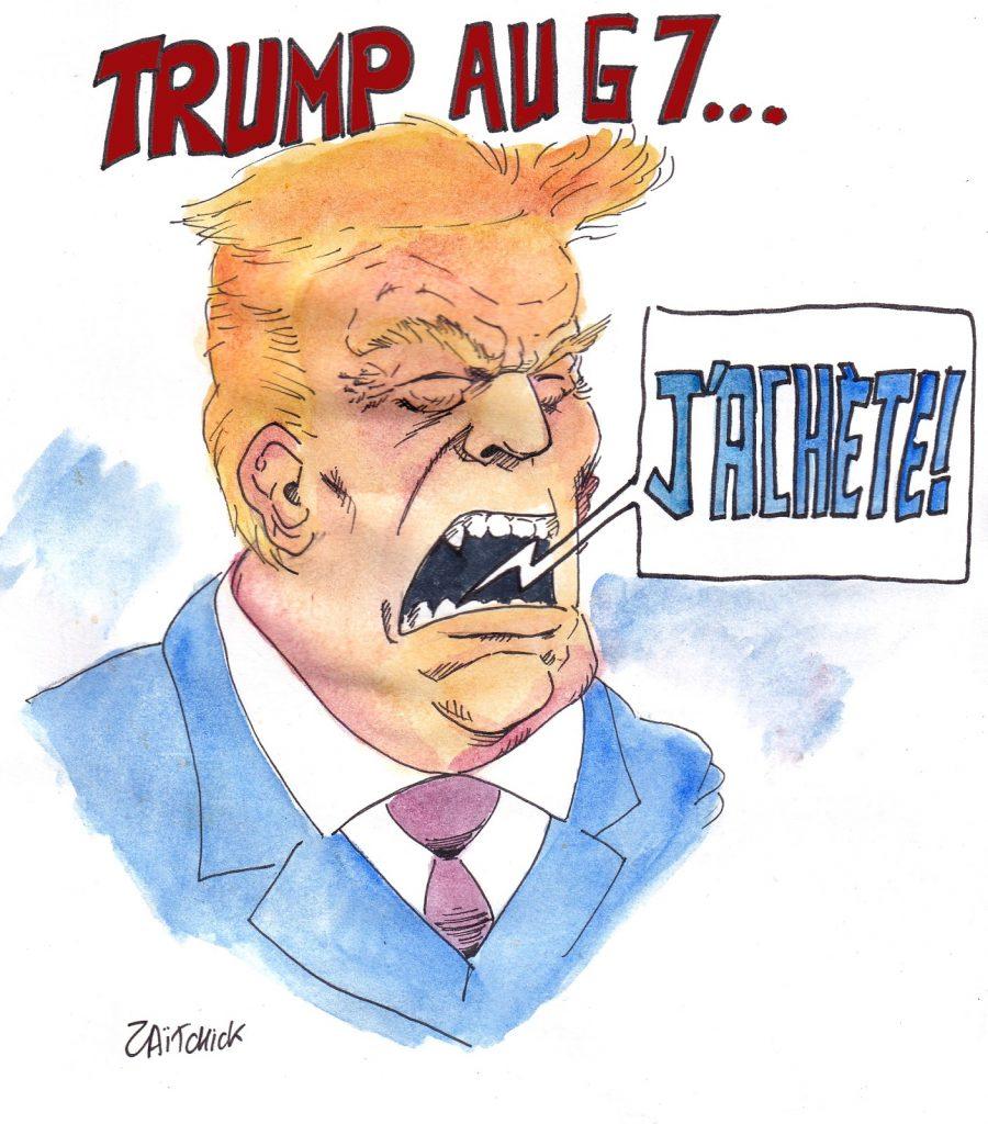 dessin humoristique de Zaïtchick sur la volonté de Donald Trump d'acheter le Groenland