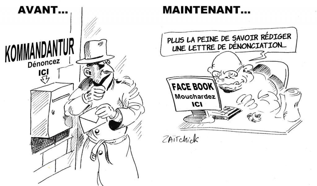 dessin humoristique de Zaïtchick sur le mouchardage aujourd'hui