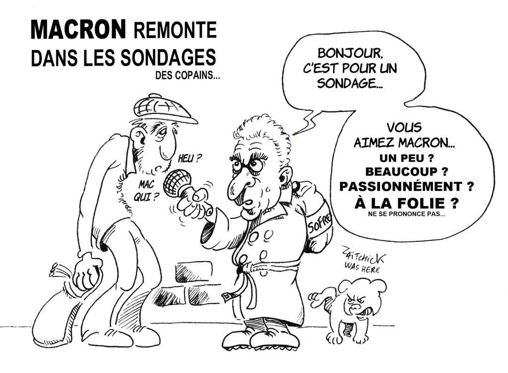 dessin humoristique de Zaïtchick sur la remontée d'Emmanuel Macron dans les sondages