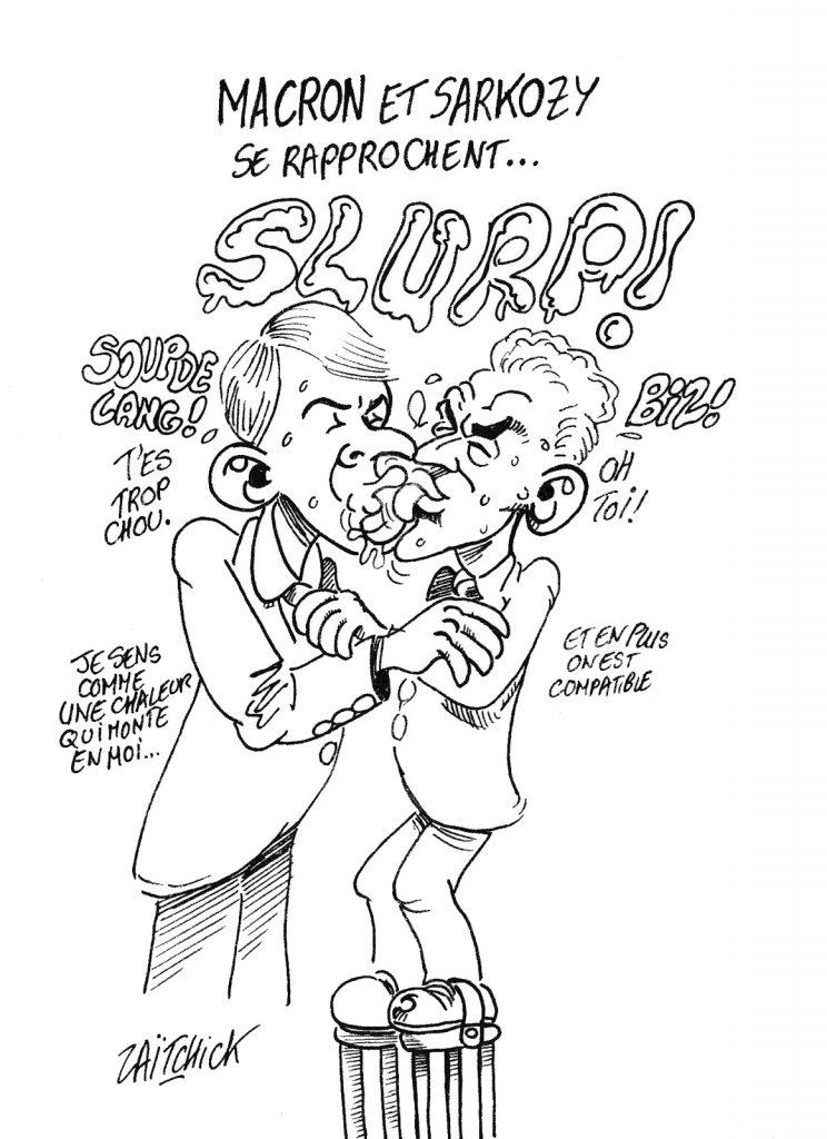 dessin humoristique de Zaïtchick sur le rapprochement entre Emmanuel Macron et Nicolas Sarkozy