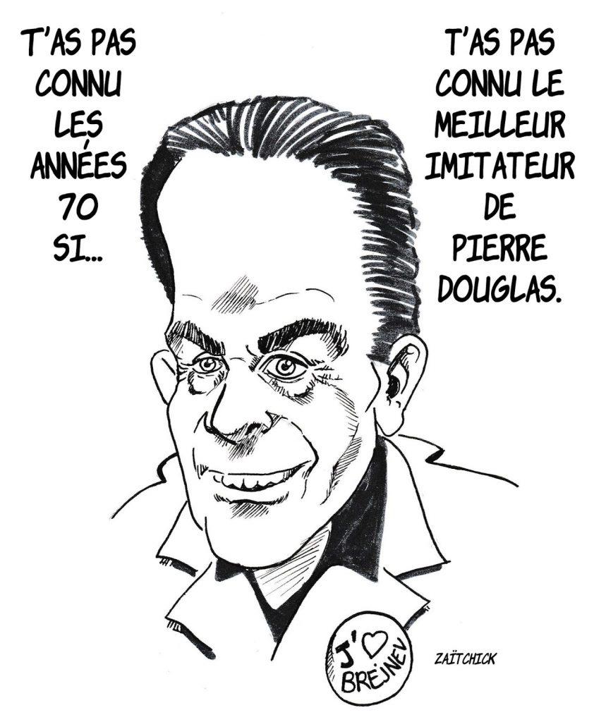 dessin humoristique de Zaïtchick sur les années 70, le parti communiste et Georges Marchais