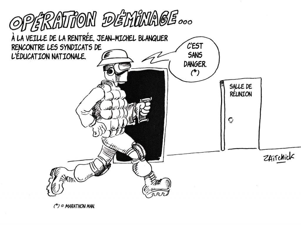 dessin humoristique de Zaïtchick sur Jean-Michel Blanquer rencontrant les syndicats de l'Éducation Nationale à la veille de la rentrée scolaire