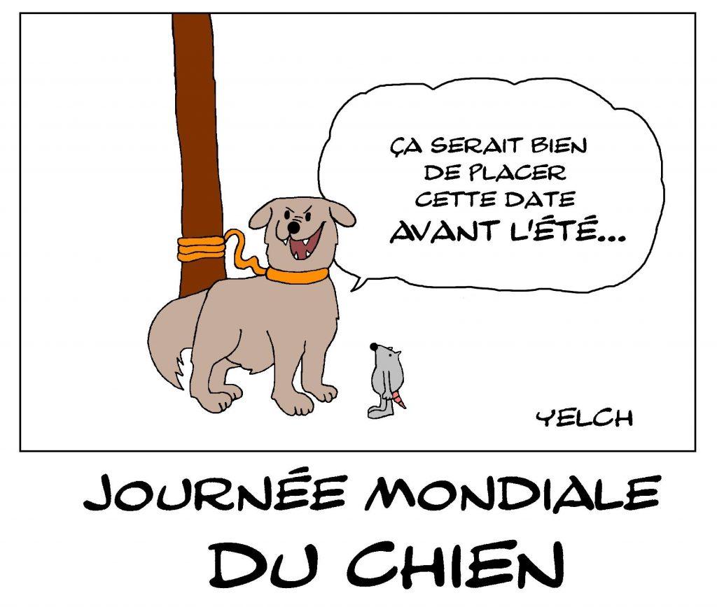 dessin de Yelch sur la journée mondiale des chiens