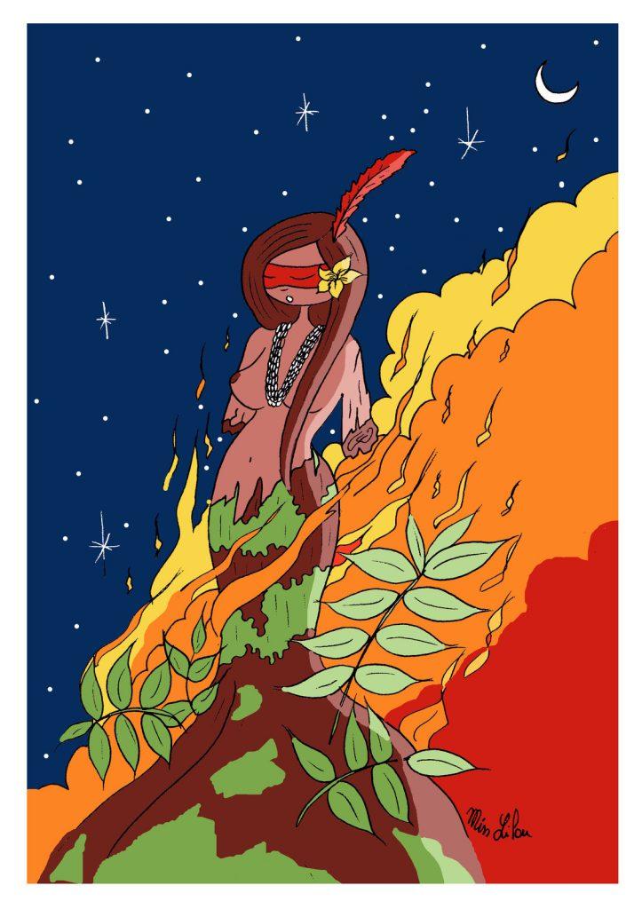 dessin de Miss Lilou sur les incendies qui ravagent la forêt amazonienne