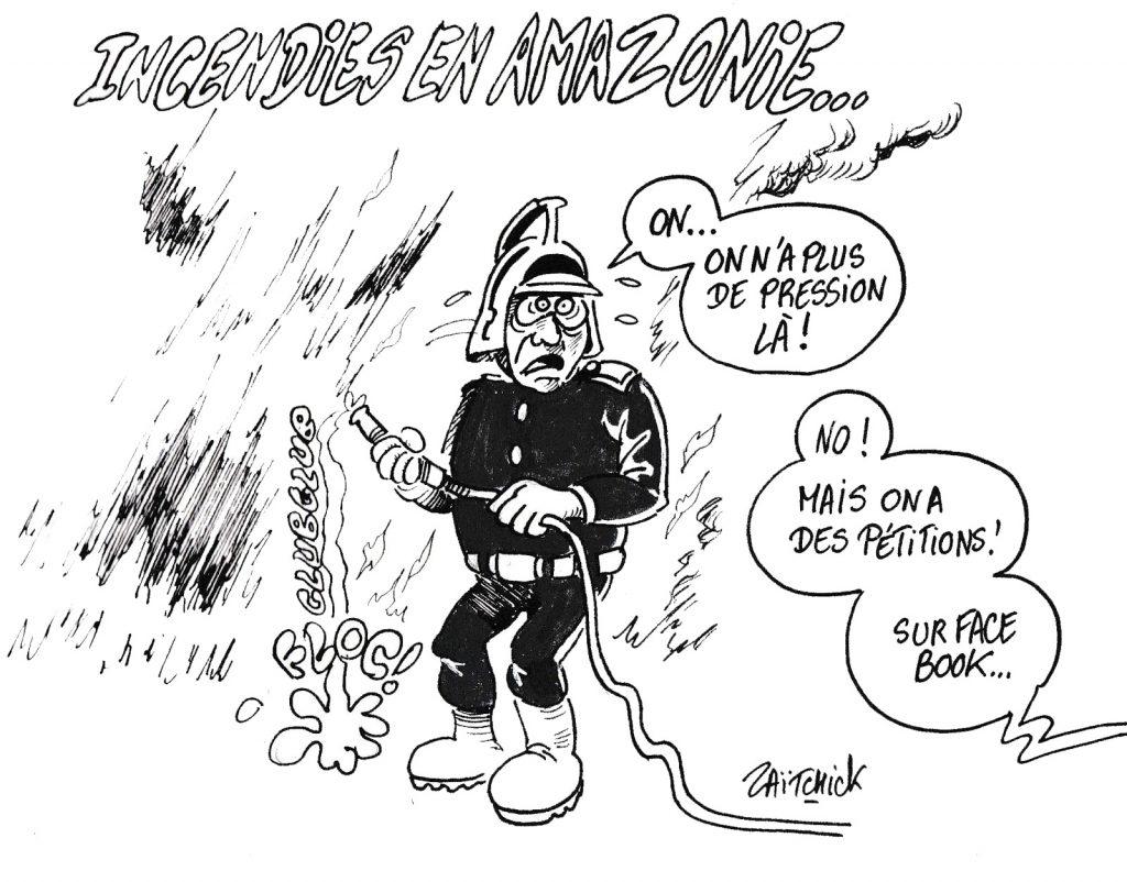 dessin humoristique de Zaïtchick sur les incendies qui ravagent la forêt amazonienne