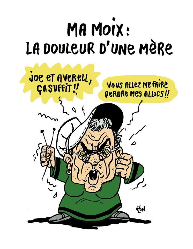 dessin humoristique de Glon sur la polémique dans la famille Moix suite au dernier livre de Yann Moix