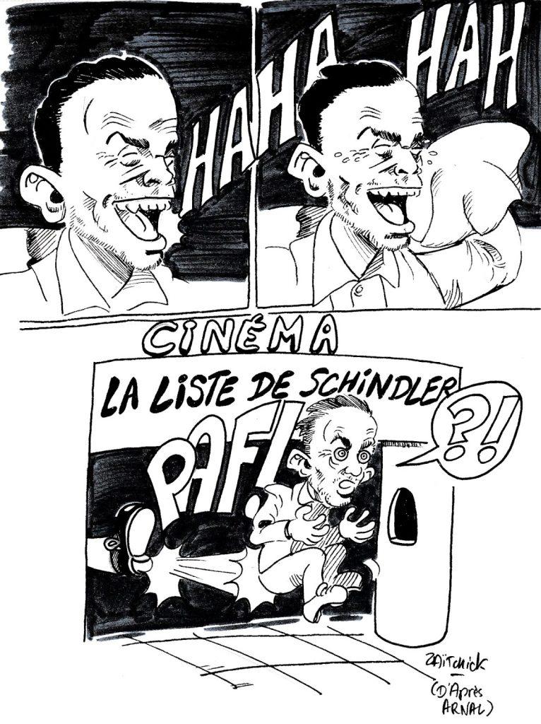 dessin humoristique de Zaïtchick sur les erreurs de jeunesse antisémites de Yann Moix