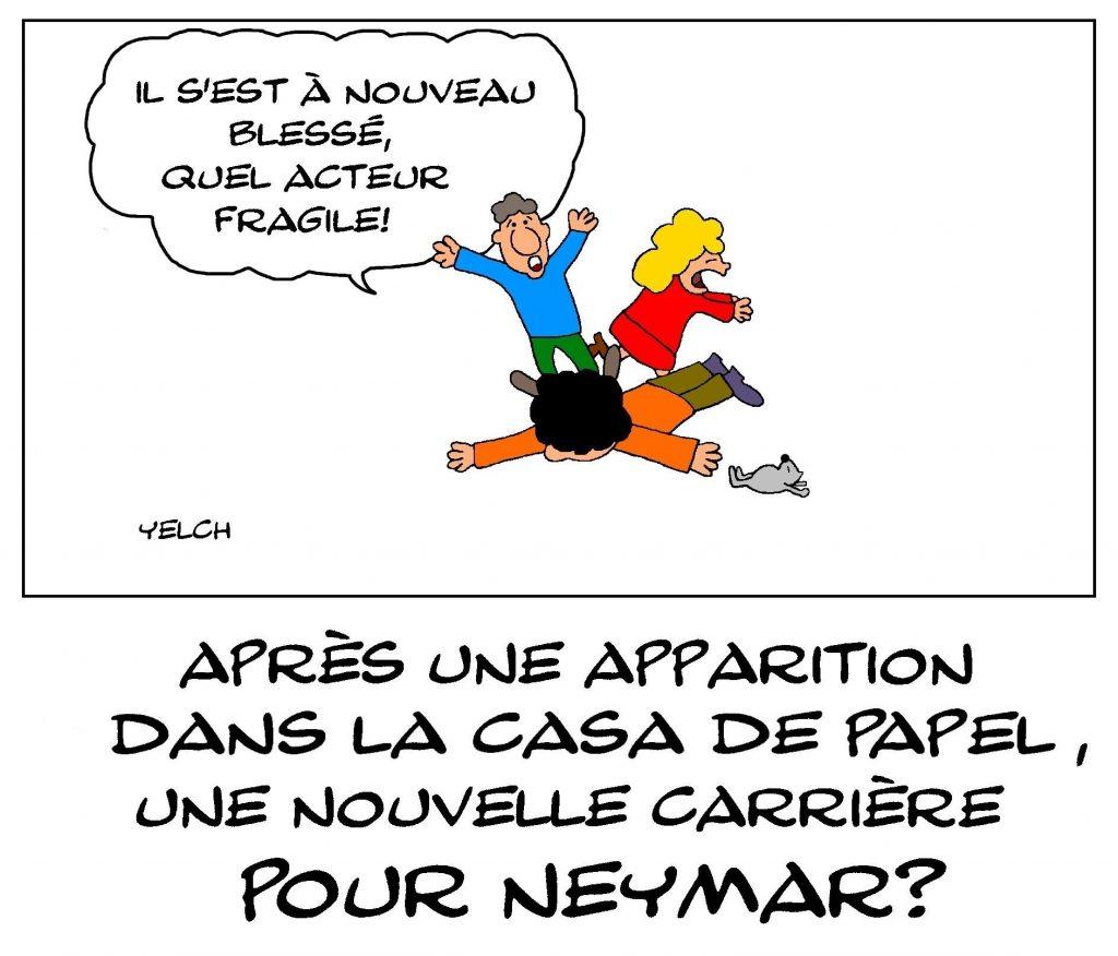 dessin de Yelch sur l'apparition de Neymar dans la série de La Casa De Papel