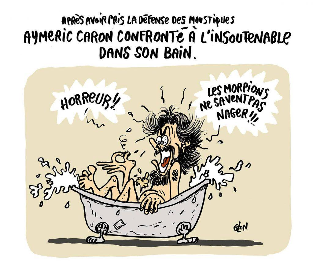 dessin humoristique de Glon sur Aymeric Caron et le meurtres des moustiques