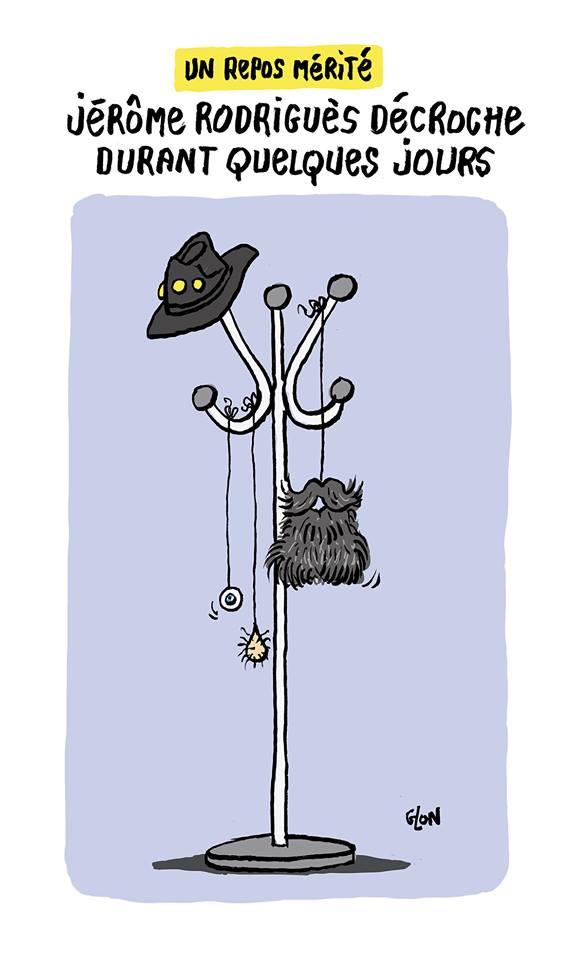 dessin humoristique de Glon sur le séjour en maison de repos de Jérôme Rodrigues