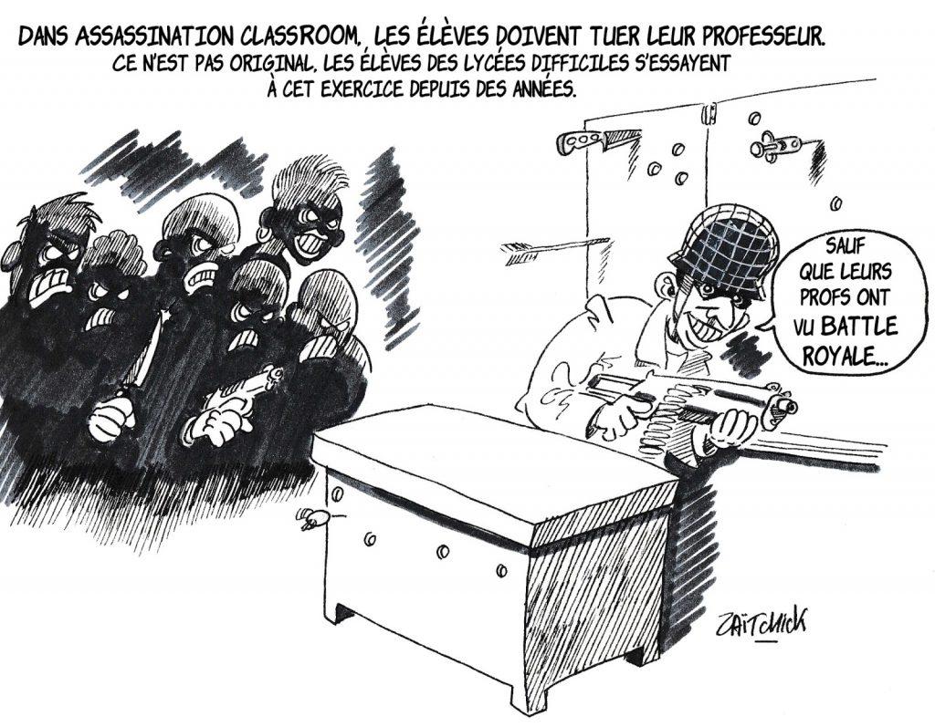 dessin humoristique de Zaïtchick sur Assassination Classroom, Battle Royale et les lycées difficiles
