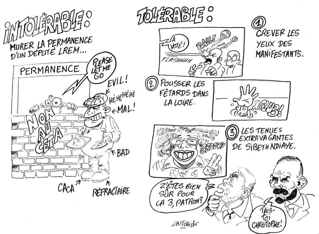 dessin humoristique de Zaïtchick sur le tolérable et l'intolérable selon LREM