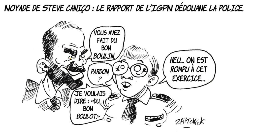 dessin humoristique de Zaïtchick sur le rapport de l'IGPN dédouanant la police dans la noyade de Steve Caniço
