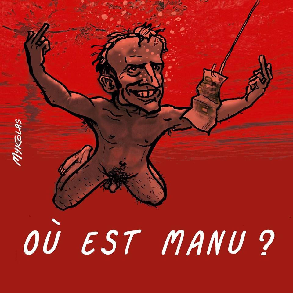 dessin d'actualité humoristique sur Emmanuel Macron, Piss Christ et la disparition de Steve Caniço
