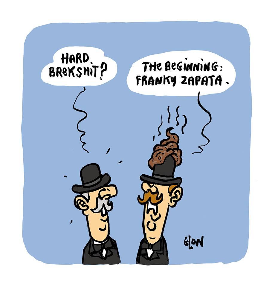 dessin humoristique de Glon sur la traversée de la Manche par Franky Zapata et le Brexit