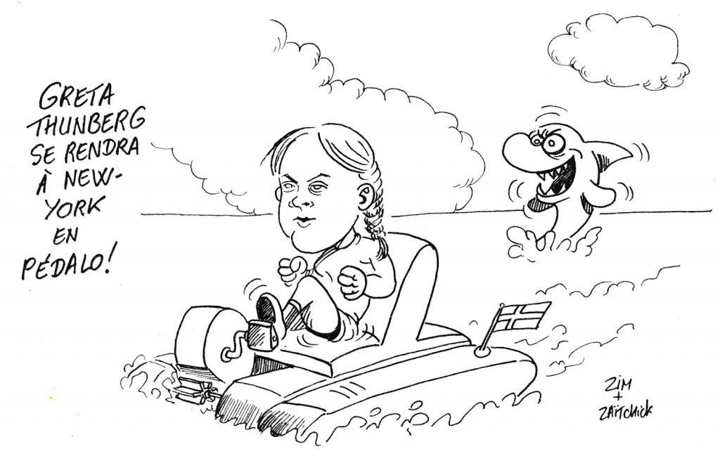 dessin humoristique de Zaïtchick sur le déplacement de Greta Thunberg à New York sur le voilier Malizia II