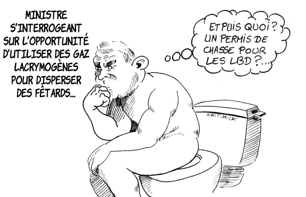 dessin humoristique de Zaïtchick sur Christophe Castaner et la dispersion des fêtards à Nantes
