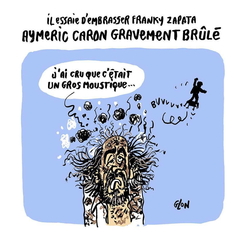 dessin humoristique de Glon sur la traversée de la Manche par Franky Zapata et la défense des moustiques par Aymeric Caron