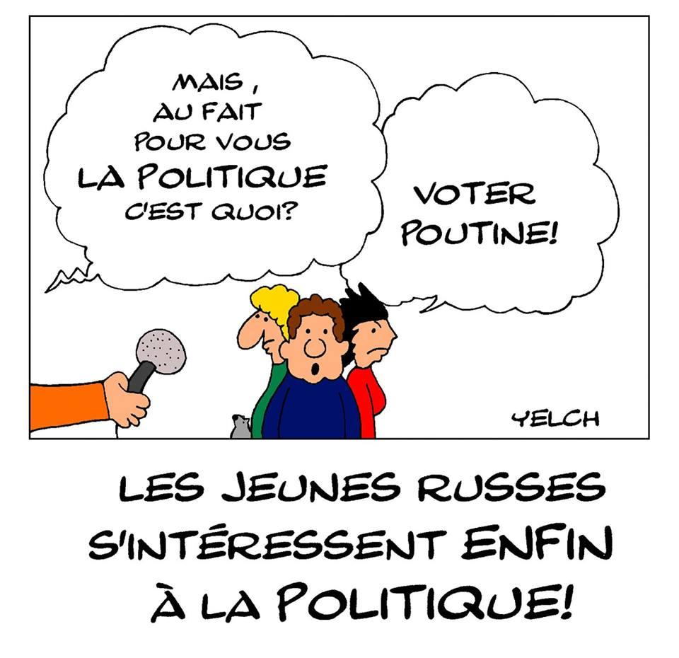 dessin de Yelch sur la jeunesse russe et son désintérêt pour la politique