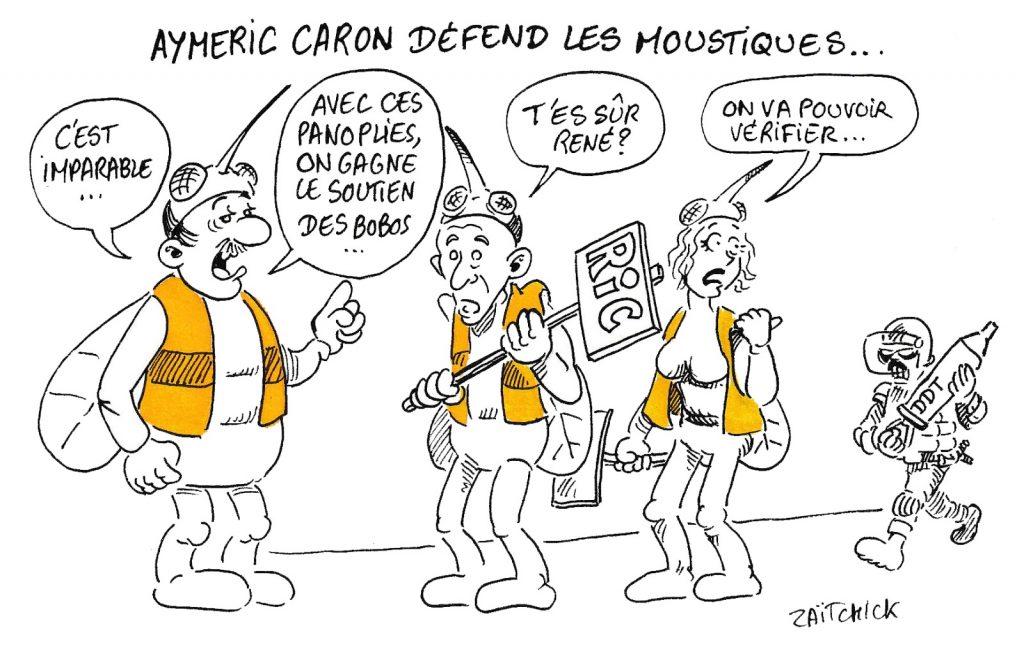 dessin humoristique de Zaïtchick sur Aymeric Caron, le meurtres des moustiques et les gilets jaunes