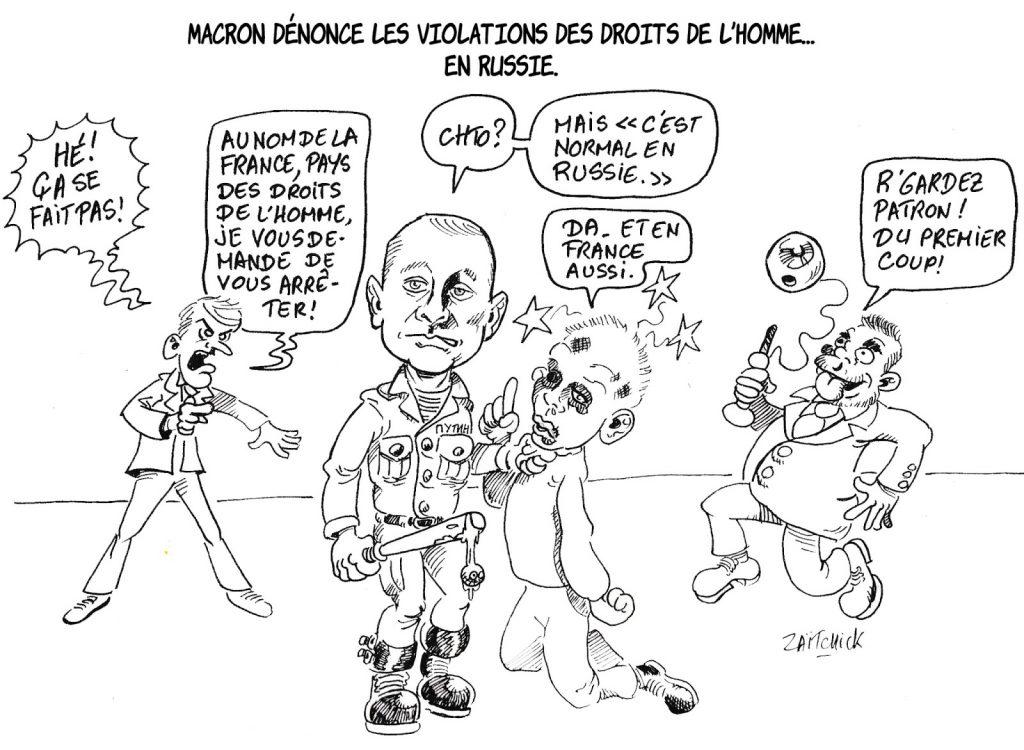 dessin humoristique de Zaïtchick sur la dénonciation par Emmanuel Macron des violations des droits de l'homme en Russie