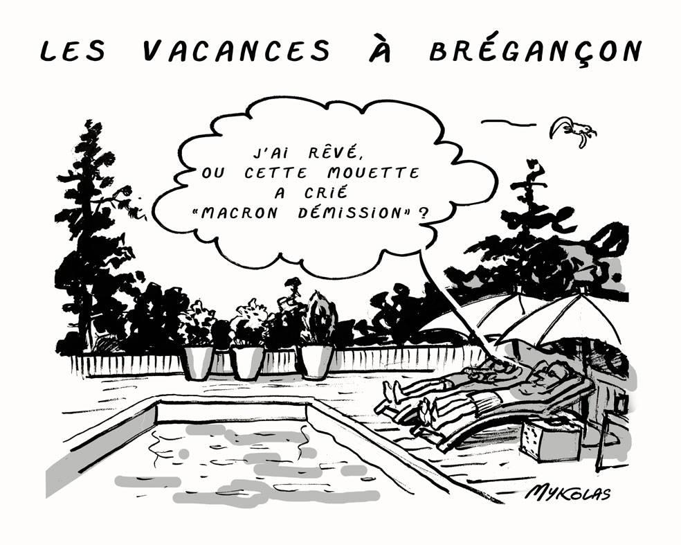 dessin d'actualité humoristique sur les vacances d'Emmanuel Macron au Fort de Brégançon