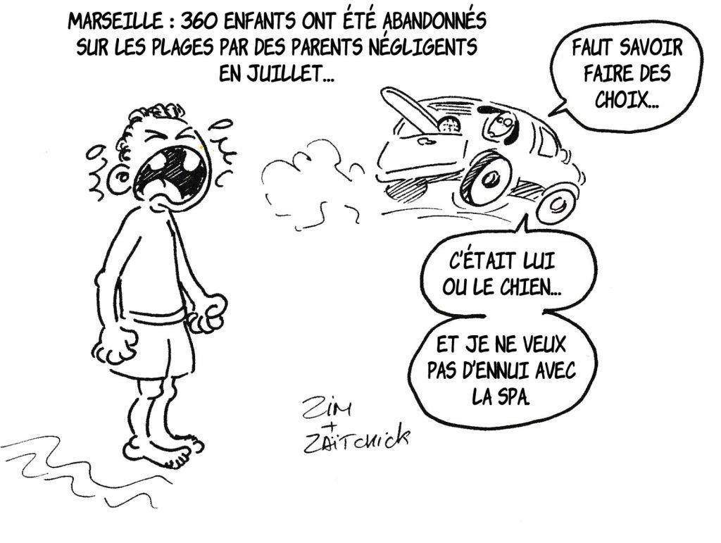 dessin humoristique de Zaïtchick sur les enfants abandonnés sur les plages de Marseille par des parents négligents