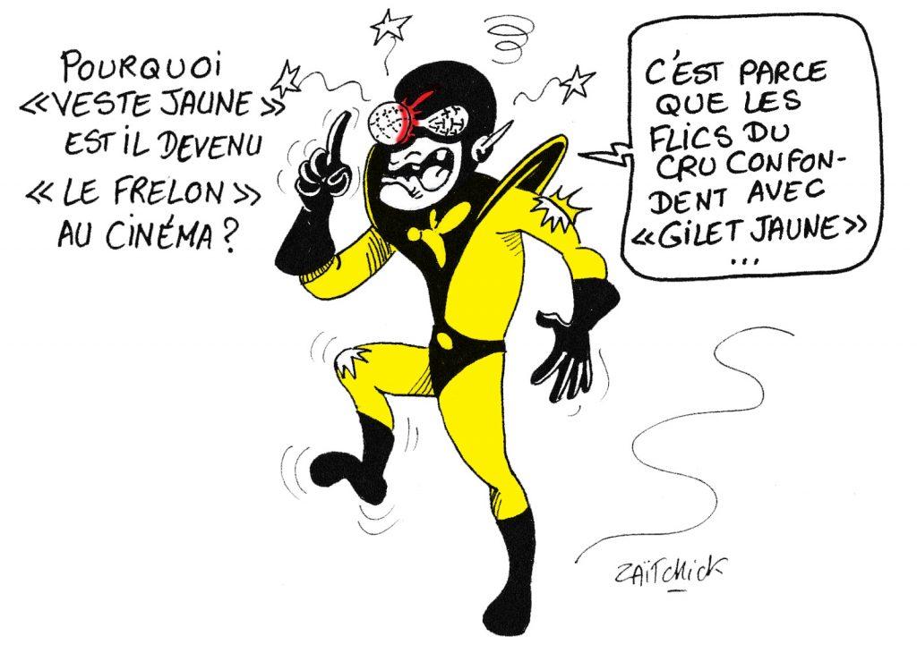 dessin humoristique de Zaïtchick sur le changement de nom de Yellowjacket au cinéma