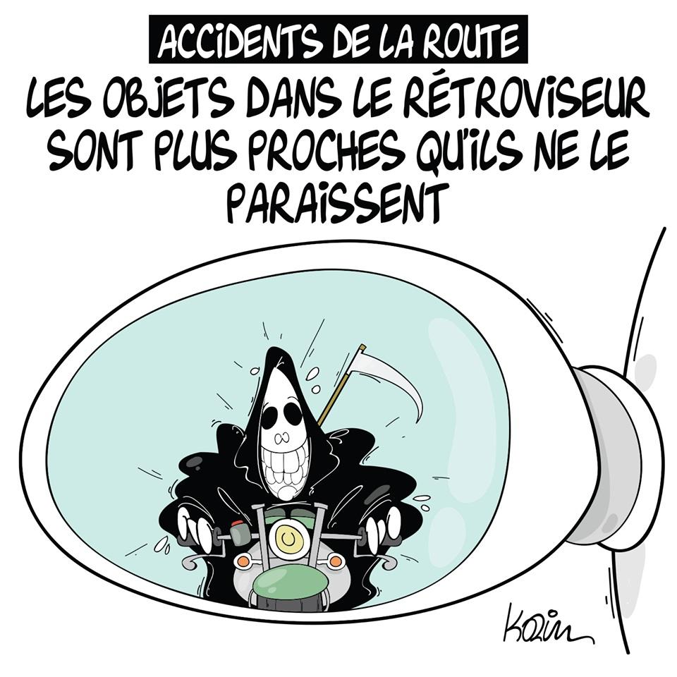 dessin d'actualité humoristique sur les accidents de la route et la vision déformée des distances dans les rétroviseurs