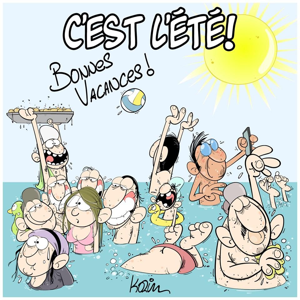 dessin d'actualité humoristique sur les vacances d'été