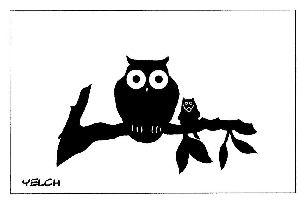 dessin de Yelch sur les chouettes