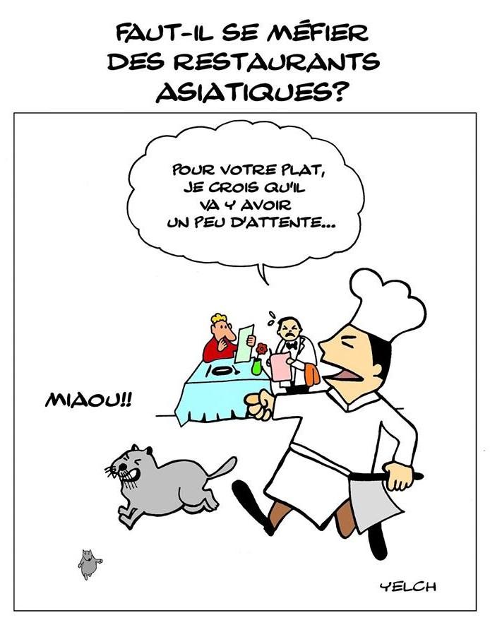dessin de Yelch sur les restaurants asiatiques