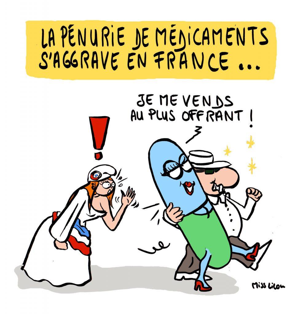 dessin de Miss Lilou sur la pénurie endémique de médicament en France