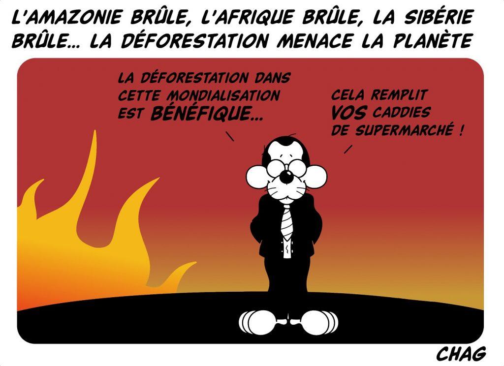 dessin d'humour de Chag sur les incendies de forêts dans le monde et la mondialisation
